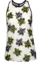Milly Marie Floral Print Silk Crepe De Chine Tank Top Ivory