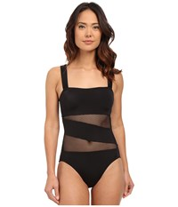 Dkny Mesh Effect Mesh Splice Maillot W Removable Soft Cups Black Women's Swimsuits One Piece