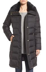 Cole Haan Women's Water Repellent Down And Feather Coat With Faux Fur Collar