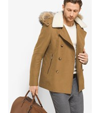 Fur Trimmed Cotton Blend Peacoat