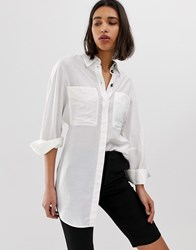 Mango Longline Shirt With Pockets In Off White