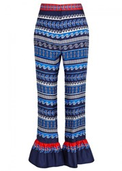 Mary Katrantzou Peyote Printed Silk Trousers Blue