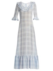 The Vampire's Wife Gloria Ruffle Trimmed Checked Gauze Maxi Dress Blue Print