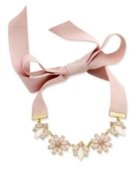 Inc International Concepts Gold Tone Clear And Pink Crystal Ribbon Choker Necklace Only At Macy's Blush