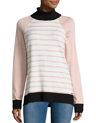 Calvin Klein Contrast Trim Striped Turtleneck Sweater Blush Combo