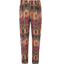 Etro Tapered Pleated Printed Linen Trousers Red
