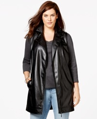Harper And Liv Plus Size Long Faux Leather Moto Vest Black