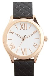 Women's Topshop Roman Numeral Quilted Leather Strap Watch 28Mm