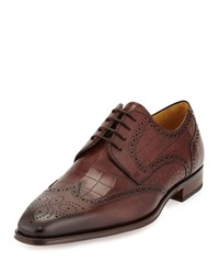 Magnanni Guodi Crocodile Embossed Wing Tip Oxford Mid Brown