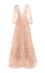 Marchesa Ruffle Tulle V Neck Gown Pink