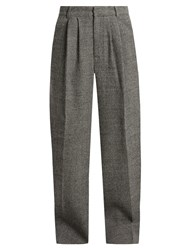 Raey Wide Leg Wool Tweed Trousers Black Multi