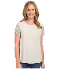 Dylan By True Grit Dreamcatcher Short Sleeve Lace Sleeve Blouse Smoke Women's Short Sleeve Pullover Gray