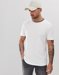 River Island Slim Fit Crew Neck T Shirt With Neck Tipping In White