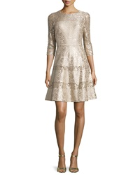 Kay Unger New York 3 4 Sleeve Lace Fit And Flare Dress