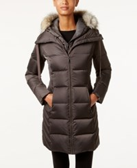 Tahari Faux Fur Trim Hooded Puffer Coat Legend Grey