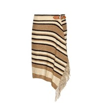 Polo Ralph Lauren Striped Knitted Silk Cotton And Linen Wrap Skirt Brown