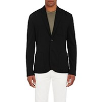 James Perse Men's Jersey Two Button Blazer Black Blue Black Blue