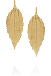 Aura Lie Bidermann Central Park Gold Plated Leaf Earrings
