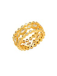 Freida Rothman Classic Cz And 14K Gold Plated Marquise Cigar Band Ring