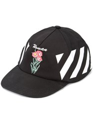 Off White Diag Othello Flower Baseball Cap Black