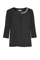 Great Plains Lapland Crepe Embellished Top Black