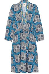 Figue Elizabetta Embellished Printed Cotton Wrap Dress Blue