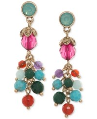 Lonna And Lilly Gold Tone Multicolor Beaded Linear Drop Earrings