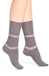 Women's Elie Tahari Shadow Stripe Ankle Socks Grey Grey Haze