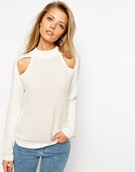 Asos Jumper With Cold Shoulder Detail And Turtle Neck Nudeandwhite