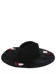 Francesco Ballestrazzi Lucien Feathered Wool Felt Wide Brim Hat