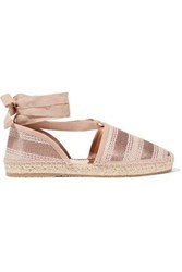 Jimmy Choo Lace Up Striped Woven Espadrilles Antique Rose