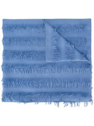 Chloe Frayed Scarf Blue