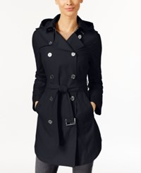 Michael Kors Hooded Double Breasted Belted Raincoat