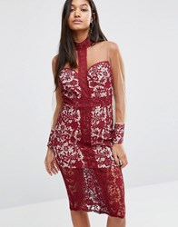 Love Triangle Longsleeve Midi Dress In Lace Wine Black