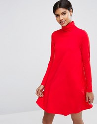Asos Swing Dress With Polo Neck And Long Sleeves Bright Red