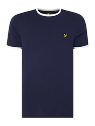 Lyle And Scott Men's Ringer Crew Neck Short Sleeve T Shirt Navy