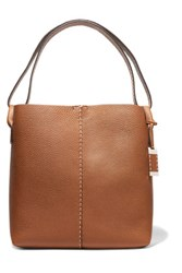 Michael Kors Collection Slouchy Hobo Textured Leather Shoulder Bag Tan