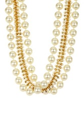 Kenneth Jay Lane Hourglass Bead And Faux Pearl Triple Strand Necklace White