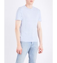 Sandro Marl Effect Linen T Shirt Light Blue
