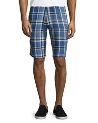 Neiman Marcus Linen Plaid Shorts Navy