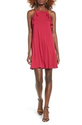 Socialite Women's Ruffle High Neck Dress Vivacious Hot Pink