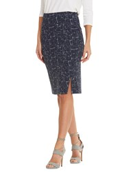 Betty Barclay Graphic Print Pencil Skirt Dark Blue White