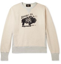 Rrl Printed Fleece Back Cotton Blend Jersey Sweatshirt Neutrals