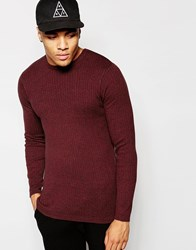 New Look Ribbed Jumper In Red Marl Redpattern