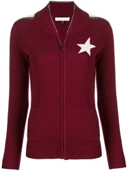 Bella Freud Star Knitted Zip Up Jacket Red