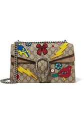 Gucci Dionysus Small Embellished Coated Canvas And Suede Shoulder Bag Beige