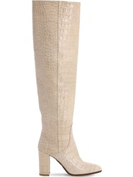 Strategia 80Mm Croc Embossed Over The Knee Boots Beige