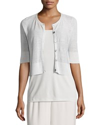 Eileen Fisher Half Sleeve Button Front Short Cardigan Petite White