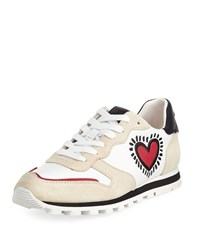 Coach X Keith Haring Heart Runner Leather Suede Sneaker Chalk Red Beechwo