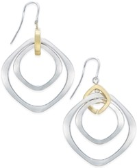 Charter Club Two Tone Drop Hoop Earrings Only At Macy's